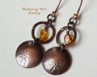 Amber Earrings, Star Design, Hammered Copper Hoop and Stamped Disc, Southwestern Jewelry, Copper Jewelry