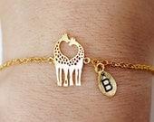 Giraffe anklet, Personalized anklet, Love giraffes anklet, heart giraffes anklet, giraffe charm, dainty, Loving Giraffes, animal