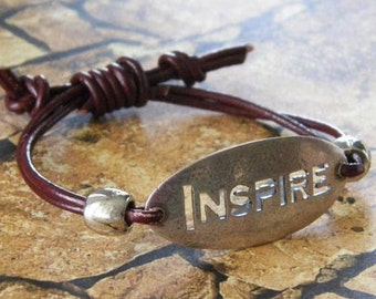 Inspirational Leather Bracelet-Stylish Bohemian Jewelry- Cancer Survivor Bracelet. Artisan Designed & Crafted in the USA