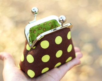Metal frame coin purse, Polka dot coin purse
