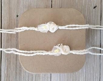 Ivory Chiffon Sari Silk Alpaca Yarn Tieback Halo Headband - Newborn, Baby, Toddler, Child - Ready to Ship