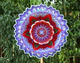 Glass Flower Garden Plate Art Hand Painted in Purple Pansy, True Red & Bright Green    - Sun catcher - Lawn Ornament - Glass Garden Stake