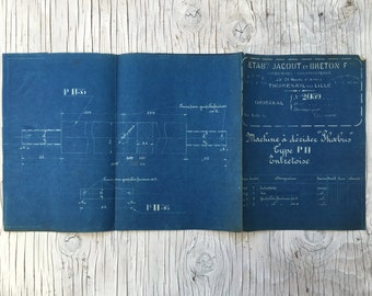 Vintage French industrial blueprint, No. 2059, 1930s. Wonderful dark teal colour. Size: 23 x 11 inches, 590 x 280 mm. Unusual gift.