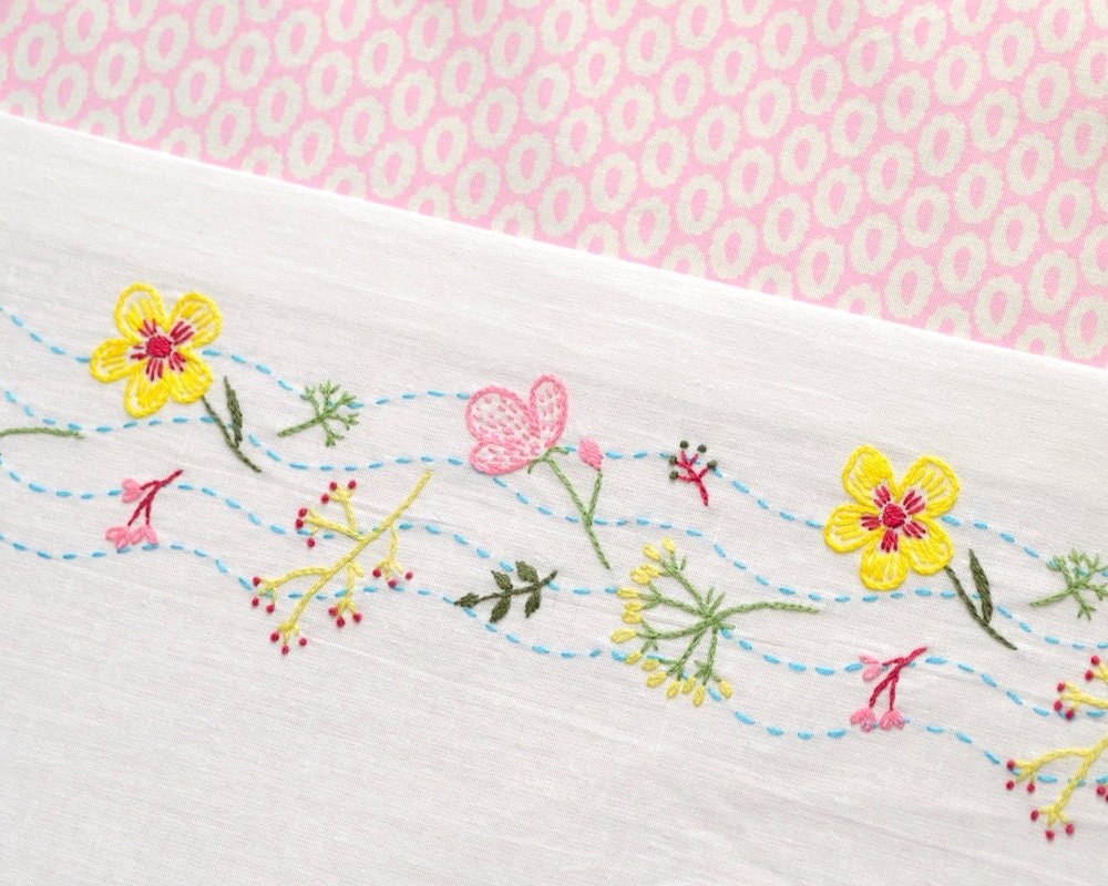 Flowers embroidery pattern hand floral