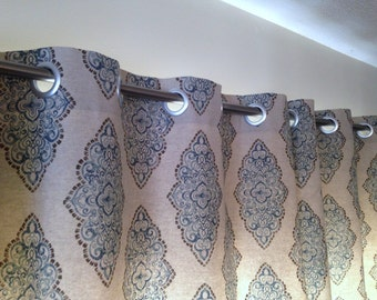 Custom WINDOW CURTAINS/ Drapes/ Panels- Premier Prints Monroe Cadet/Oatmeal- w/o Lining- Choose your fabric