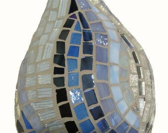 Blue Stained Glass Mosaic Raindrop