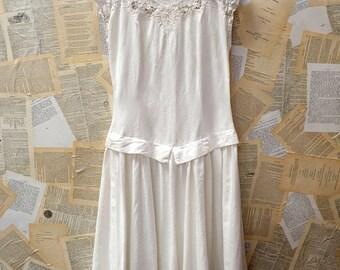 Vintage Linen and Battenburg Lace Dress