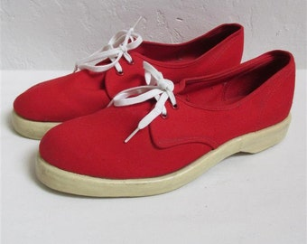"On Sale! 1950's Red ""Summerettes"" by Ball-Band Tennis Shoes / Sneakers - Size 7 1/2"""