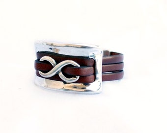 Women infinity leather bracelet and silver half bracelet cuff and magnet clasp, genuine leather