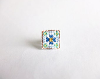 Mosaic Tile Cross Stitch Collar Pin, Peranakan Tile, Vintage Tile, Blue flower tile pin