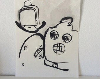 """Original Outsider art brush and ink drawing """"The Meltdown"""""""