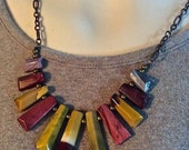 Succor Creek Jasper Necklace Bib Style Tribal Unique Earthy Colors Olive Coppery Brown Burgundy Taupe  Gift Trelors