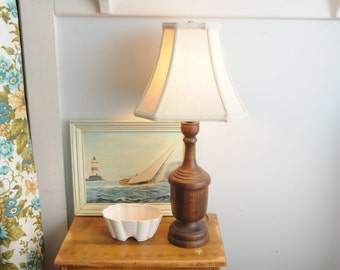 Mid Century Wood Lamp with Shade