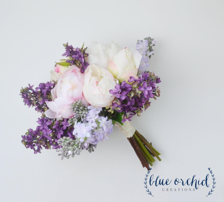 Peony Flower Arrangement Wedding Bouquet Lilac Bouquet Peony Bouquet Lavender Silk
