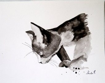 Original Painting.  Watercolor on paper.  Cat painting.Black and white.