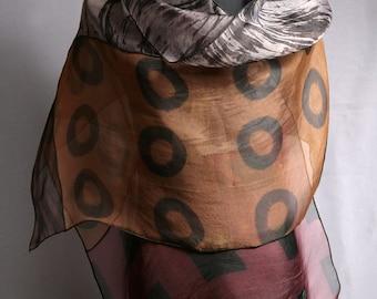 Earth Evening Wrap Hand Dyed Silk Organza Shibori Silk Wrap