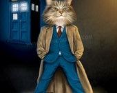 Dr. Who Pet Portrait Print - Dr. Who Gift For Pet Lover -Your pet as Dr. who character portrait, pet art portrait cat dog Pet lover gift