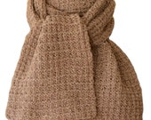 Hand Knit Scarf - Tan Tweed Fence Rib Wool