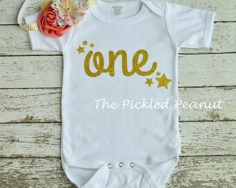 1st Birthday Shirt One Birthday Shirt Star Birthday Shirt Baby Girl 1st Birthday Girl Outfit Twinkle Twinkle Little Star Gold Glitter One