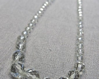 50s Sterling Silver and Faceted Crystal Choker
