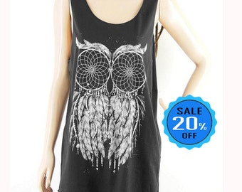 Owl Graphic Tee Owl Tank Top Womens Mens Tank Top blogger tank gift ideas vintage t shirt workout tops Sleeveless Screen Print Size M