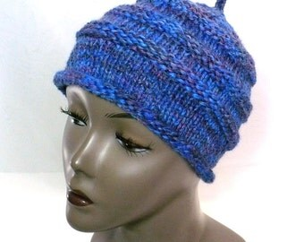 Hand Knit Berry Blue Beanie - Blue Beehive Hat, Woman's Roll Brim Hat, Girl's Hat, Handmade in the USA, Ready to Ship