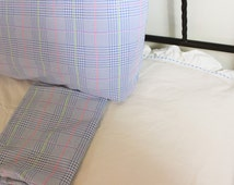 Ralph Lauren Sheet Set, Elizabeth Street Dot, Twin Flat, Glen Plaid Seaview, Pair of Pillowcases,