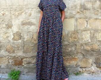 Black Maxi Dress, Boho dress, Maxi Dress, Boho Maxi Dress, Summer Maxi Dress, Floral dress, Plus size Maxi Dress, Long Cotton Maxi Dress