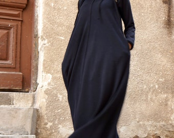 New 2016 Spring  Maxi Dress / Black Kaftan Cotton  Dress /Side Pockets  Dress / Extravagant Cotton Party Dress /Daywear Dress A03377