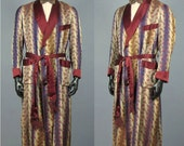Men's Vintage Robe -- 1940s 1950s Stunning Ombre Silk Dressing Gown with Satin Shawl Collar -- Men's Size M/L