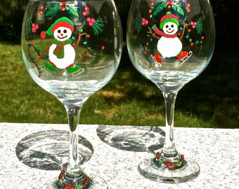 Hand Painted Christmas Wine Glasses With Free Wine Glass Charms, Snowman Glasses, Christmas Glasses, Holiday Wine Glasses, Christmas Gifts