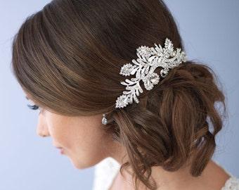 Silver Hair Clip, Vintage Wedding Hair Clip, Bridal Hair Clip, Bridal Hair Accessories, Wedding Headpiece, Bride Headpiece ~TC-2247