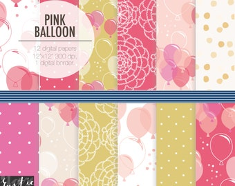 PINK Balloon digital paper birthday pack. Pink, golden yellow scrapbooking digital paper for party decoration and invitation.