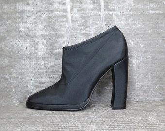 Vtg 90s Black Neoprene Arhitectural Minimal Boots 40