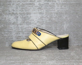 Vtg 90s MOSCHINO Logo Leather Mules Clogs 41