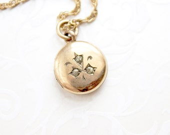 Tiny Victorian Locket Necklace, tiny gold-filled locket, small rhinestone locket, antique locket, early 1900s locket paste stones
