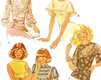 McCall's 4610 Retro 1970s Set of Flattering Feminine Tops Capelet, Long Sleeves and More