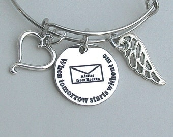 A Letter From Heaven, When Tomorrow Starts Without Me ... , Stainless Steel Engraved Charm, Memorial Charm Bracelet, Loss, Bereavement
