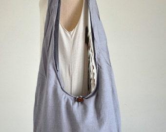 Light Gray Cotton Messenger Bag Shoulder Bag Handbags Hippie Bag Hobo Bag Sling Bag Crossbody Bag Diaper Bag Overnight Purse