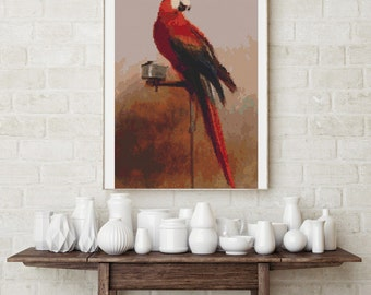 Counted Cross Stitch PATTERN Study of a Parrot by George Cole, Cross Stitch Chart PDF