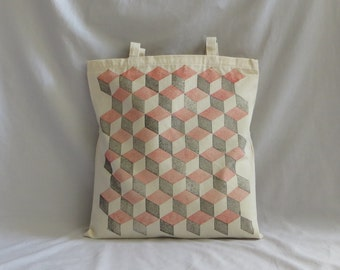Heavy-duty canvas tote bag hand-printed with 'Blocks' design in black & red