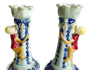 Vintage Monkey Candlesticks Candle Holders Chinoiserie Monkey PAIR Pedestal Lotus Set Votive Hollywood Regency Glamour Candle Holders SET