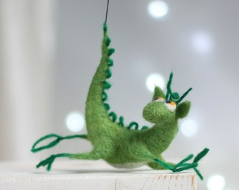 Needle Felted Dragon - Dreamy Green Dragon - Hero Of The Tales - Green Home Decor - OOAK Doll - Dragon Home Decor - Needle Felt Animals