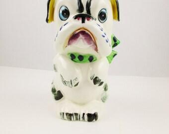 A Bulldog Bank - Fun Ceramic Bank - Bulldog With Green, Gold, Black - Brightly Colored Bulldog - Made in Japan - GREAT Color
