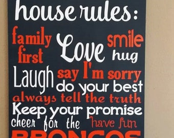 "Denver Broncos, House Rules, Sports Decor, Football, Sized 11""x14"""
