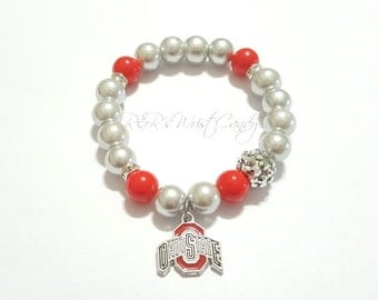 Ohio State Buckeyes, Bracelets, College Football Bracelets, Team Bracelets, Stretchy, Womens Bracelets, Handmade Jewelry