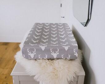 Change Pad Cover - buck, deer, grey, white, gender neutral, modern nursery, trendy nursery, baby room, newborn gift