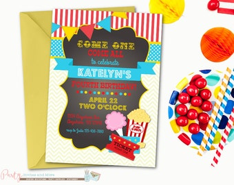 Carnival Birthday Invitation, Circus Birthday Invitation, Carnival Chalkboard Birthday Invitation, Cotton Candy, Carnival Invitation