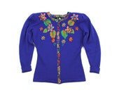 1980s Diane Fres sweater / embellished blue cardigan / beaded applique sweater M