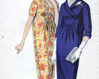 60s Vogue Maternity dress sewing pattern 5055, Bust 38 inches, double breasted bodice